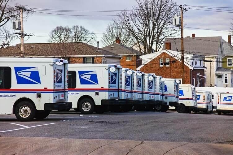 A lot of postal vans
